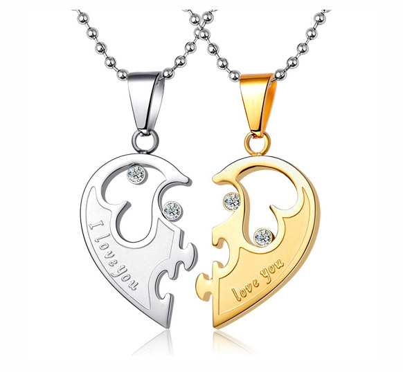 71794451a3 Engravable Half Heart Connecting His Hers Necklaces Set For Two on ...